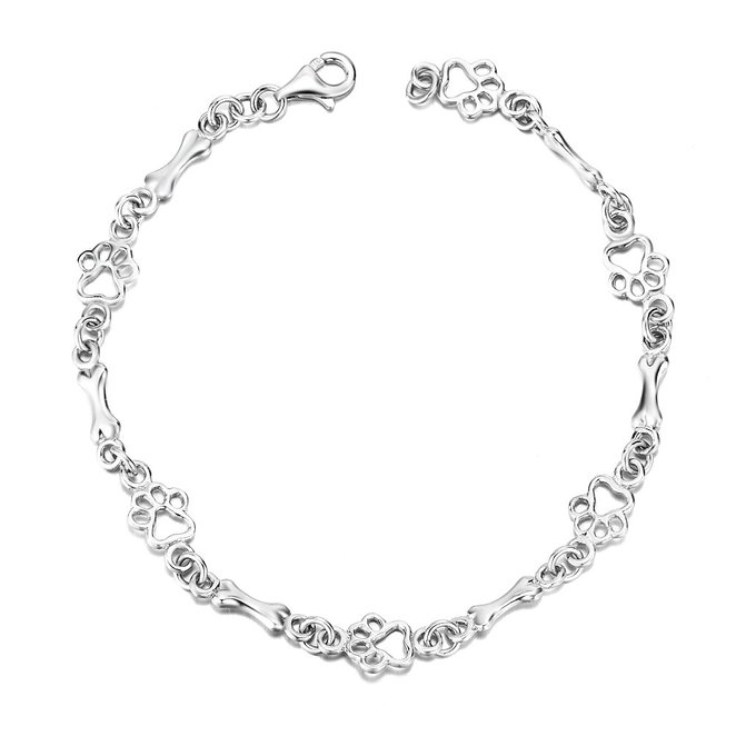 Sterling silver dog bone bracelet