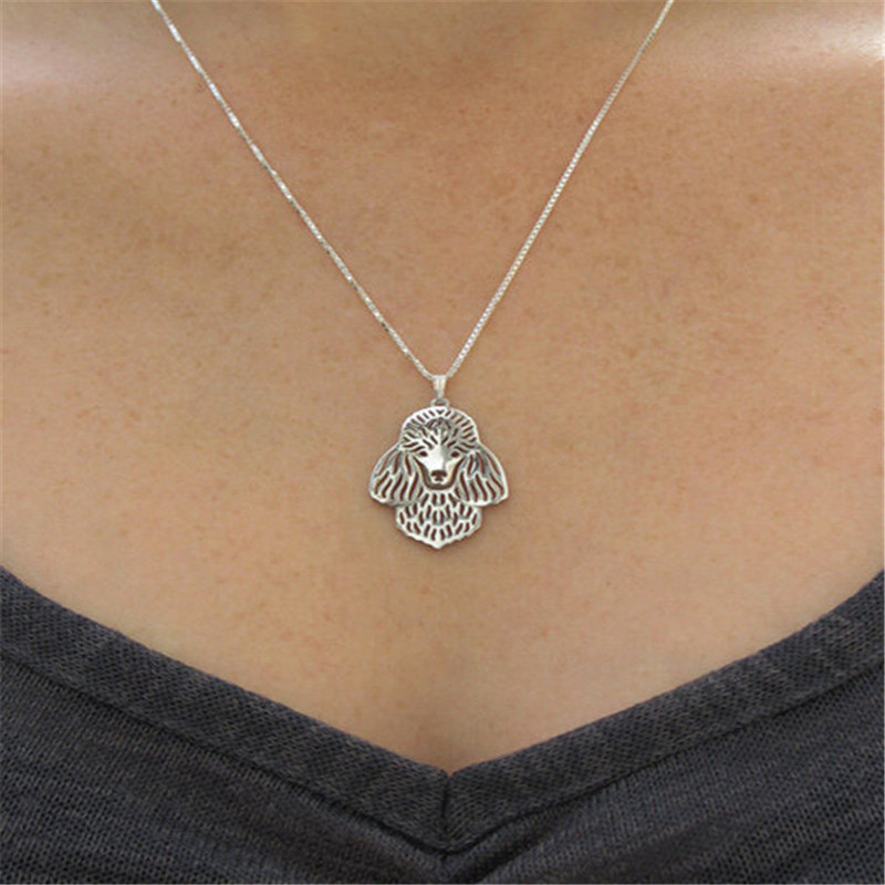 French Poodle hollow necklace