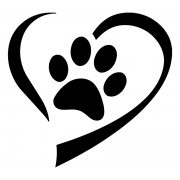 Black Heart And Paw Decal Sticker