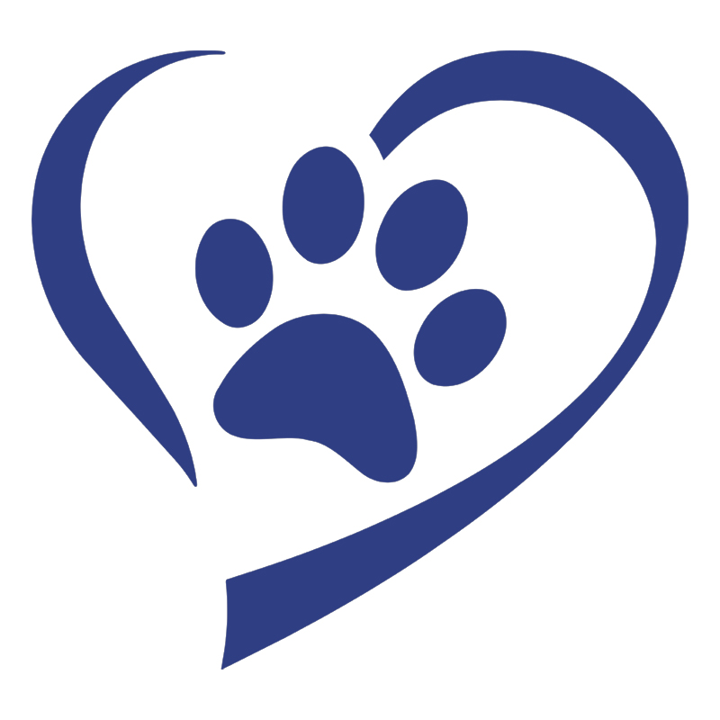 Blue Heart And Paw Decal Sticker