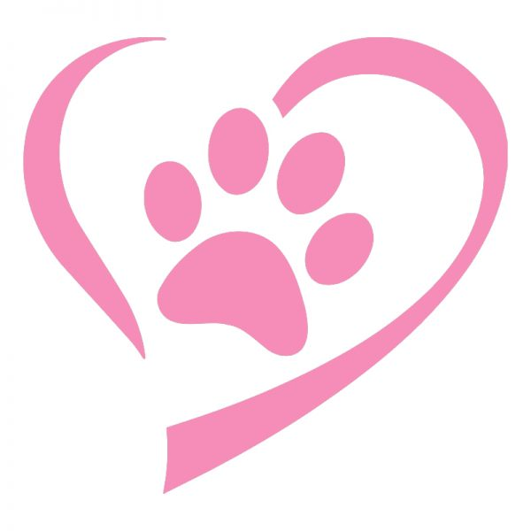 Pink Heart And Paw Decal Sticker