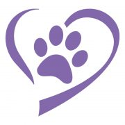 Purple Heart And Paw Decal Sticker