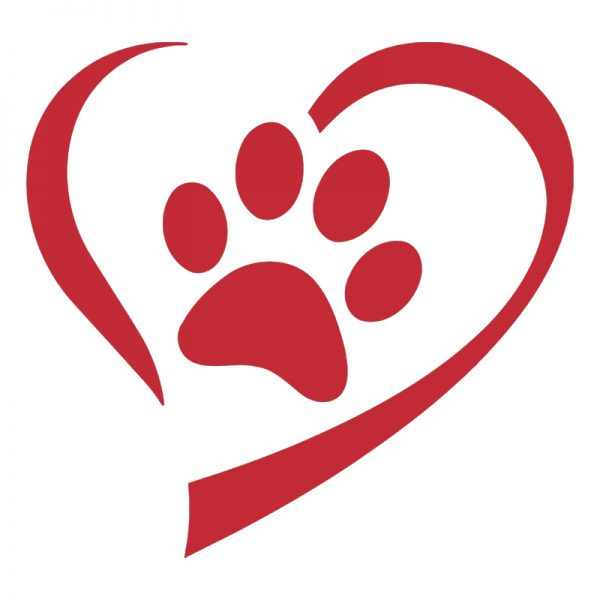 Red Heart And Paw Decal Sticker