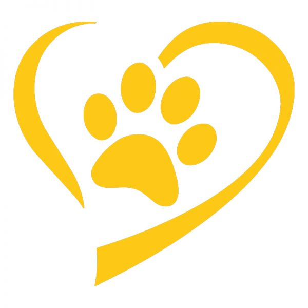 Yellow Heart And Paw Decal Sticker