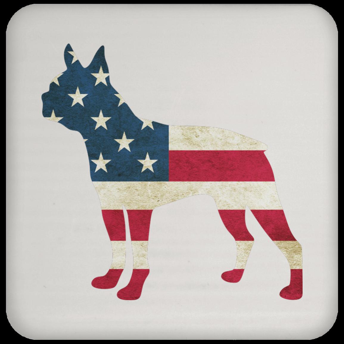Usa Flag Boston Terrier Coaster Top Pet Gifts