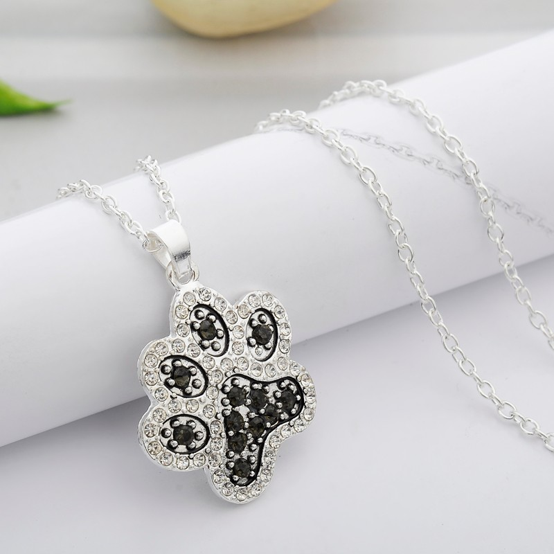 rhinestone zdx necklace silver style index drop clear