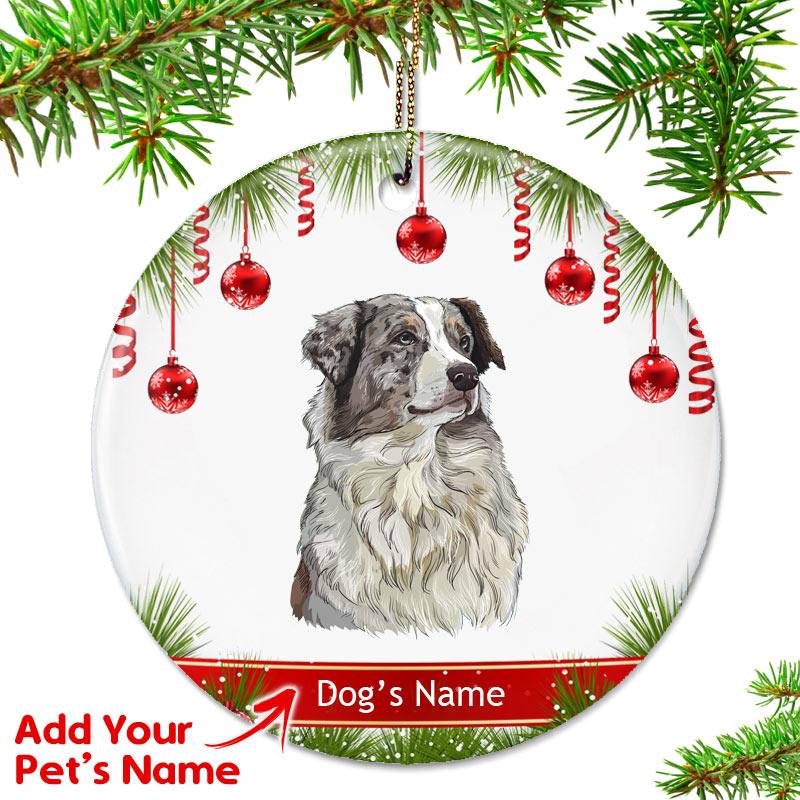 Australian Shepherd Christmas Ornament.Personalized Australian Shepherd Ornament