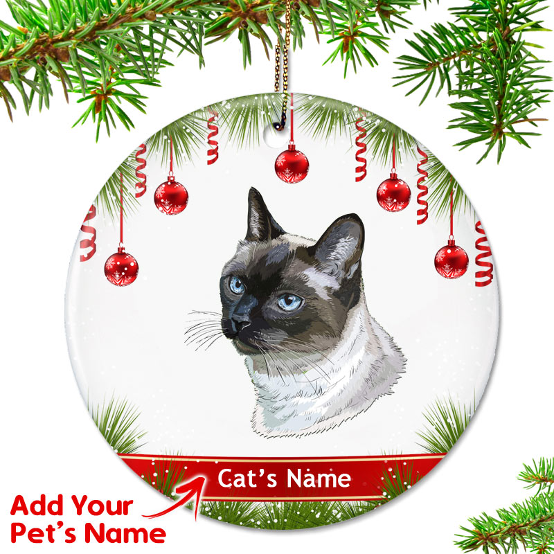 Cat Christmas.Personalized Cat Ornament Siamese