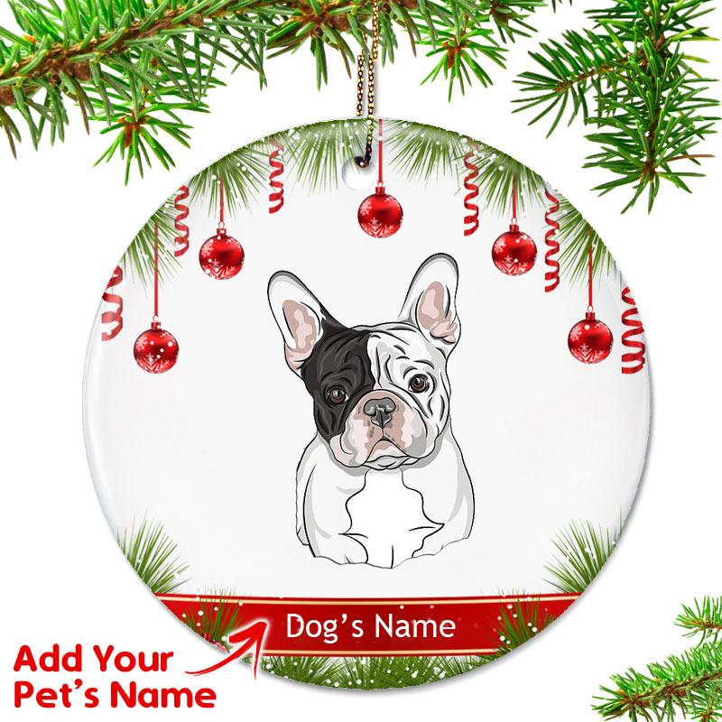 French Bulldog Christmas Ornament.Personalized French Bulldog Ornament Pied Eye