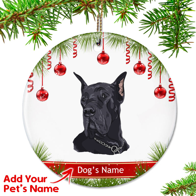 Personalized Great Dane Ornament – Cropped Black - Personalized Great Dane Ornament - Cropped Black - Top Pet Gifts