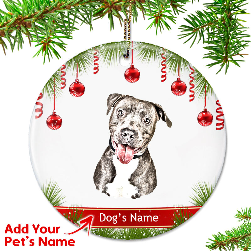 Pitbull Christmas Ornament.Personalized Pit Bull Ornament Brown