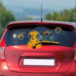 Window wiper decal wagging tail dog